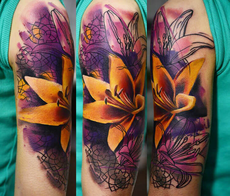 Yellow Lily flower tattoo by Timur Lysenko