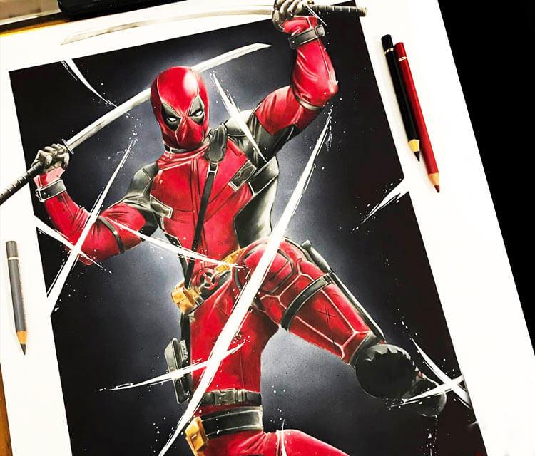 Deadpool drawing by Tom Chanth Art