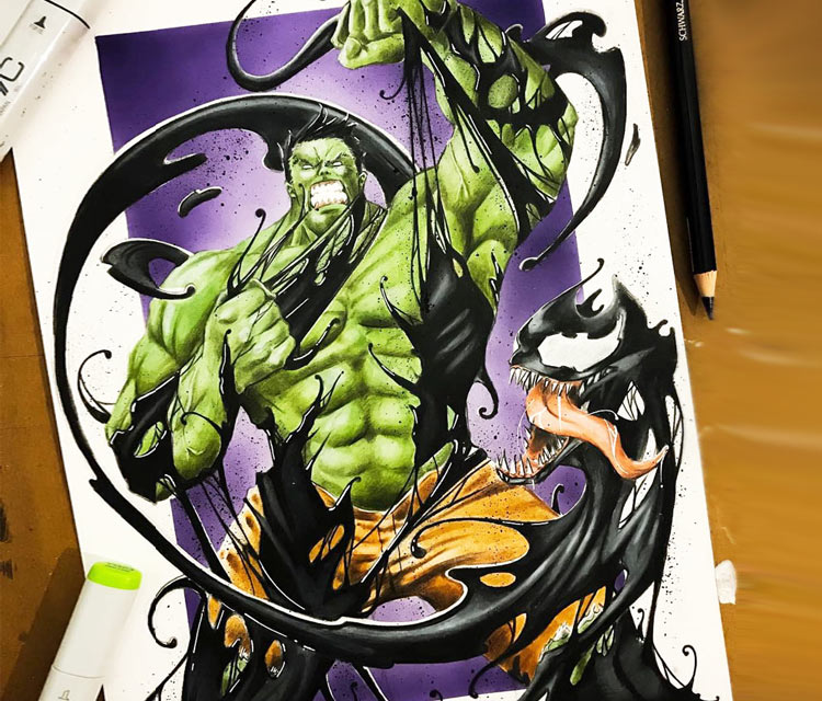 Hulk vs Venom drawing by Tom Chanth Art