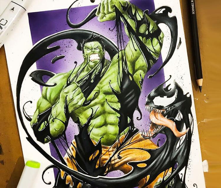 Hulk vs Venom pencil drawing by Tom Chanth Art