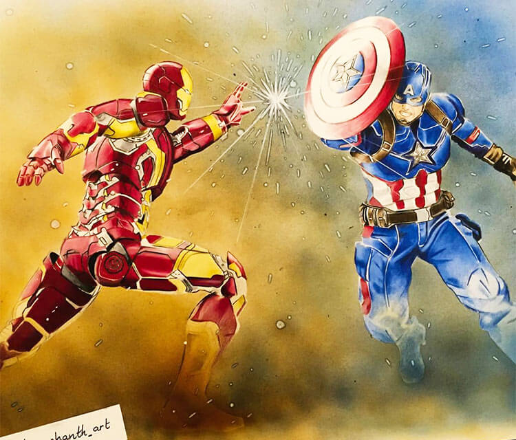 Ironman vs Captain America pencil drawing by Tom Chanth Art