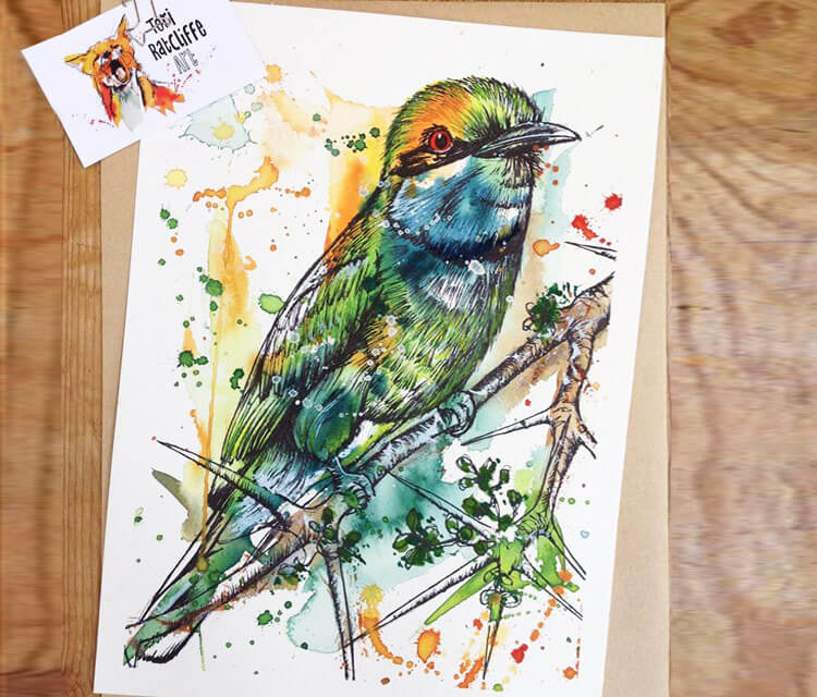 A lovely Bee eater watercolor painting by Tony Ronnebeck