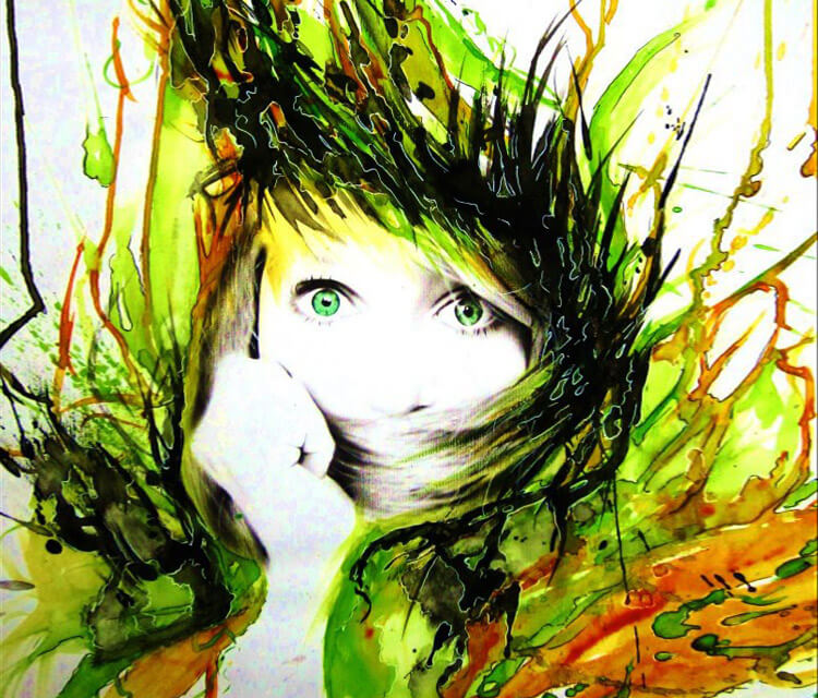 Abstract face Green Silence by Tony Ronnebeck