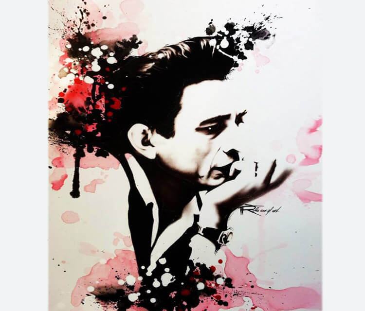 Abstract portrait of Johnny Cash by Tony Ronnebeck