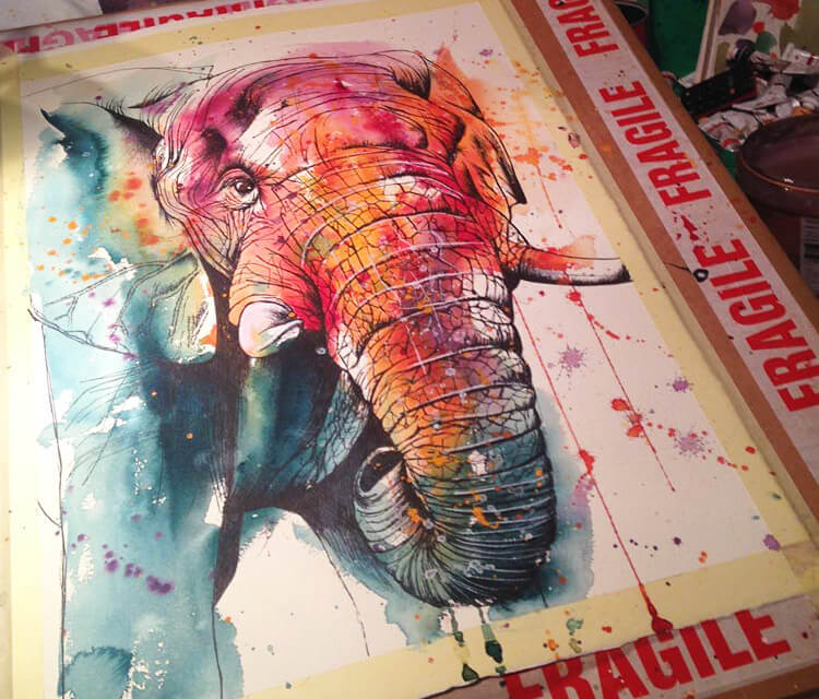 Final Elephant watercolor painting by Tori Ratcliffe Art