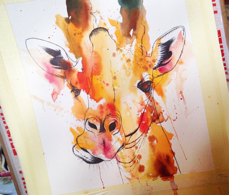 Giraffe in progress by Tori Ratcliffe Art