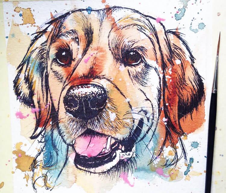 Golden Retriever watercolor painting by Tori Ratcliffe Art