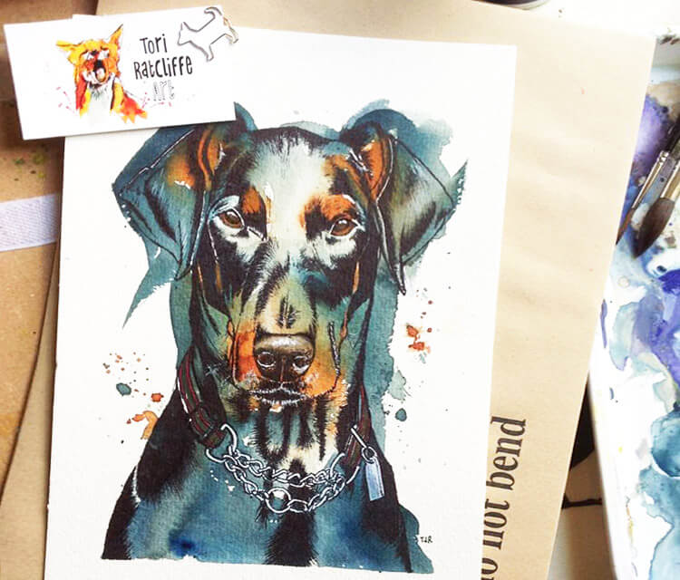 Max the Doberman by Tori Ratcliffe Art