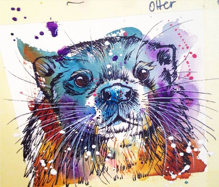 Otter watercolor painting by Tori Ratcliffe Art
