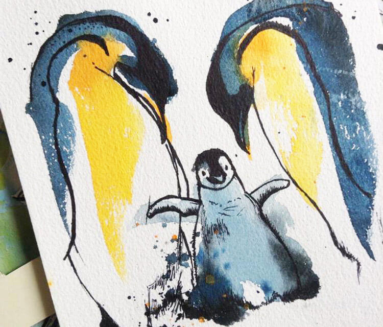 Penguins Family by Tori Ratcliffe Art
