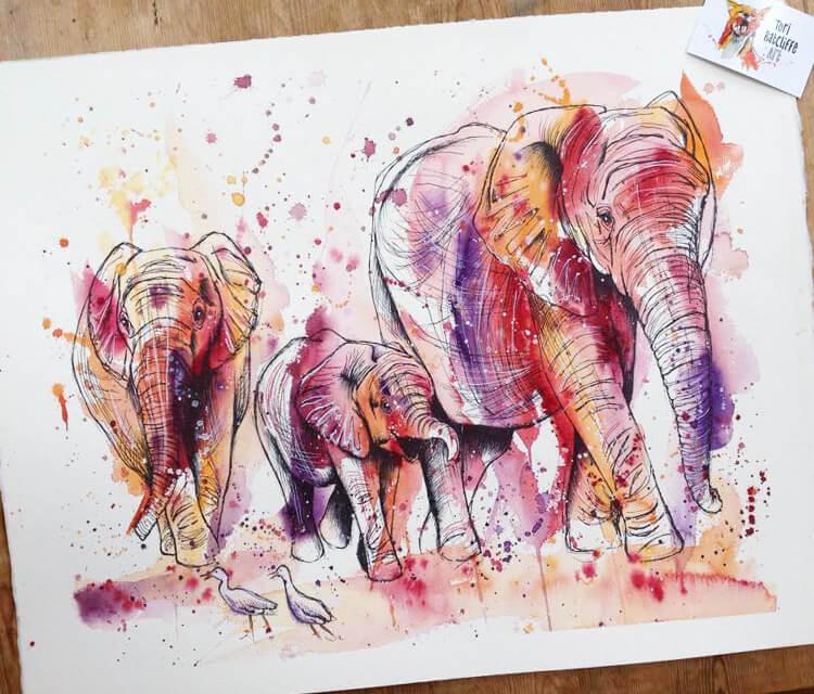 Pink Elephant by Tori Ratcliffe Art