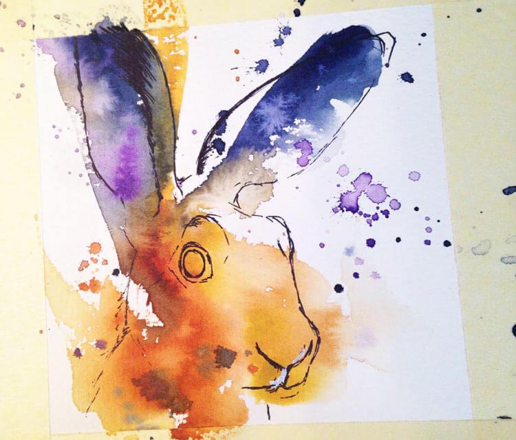 Rabbit in progress by Tori Ratcliffe Art