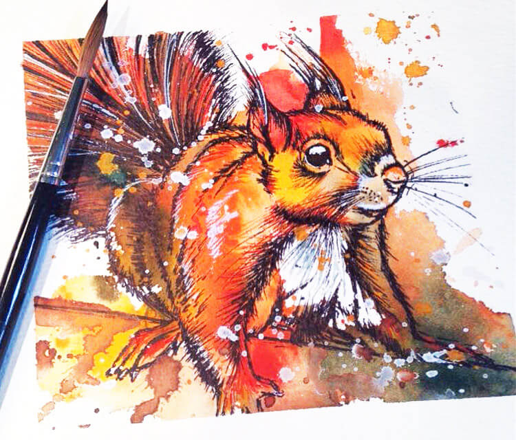 Squirrel watercolor painting by Tori Ratcliffe Art