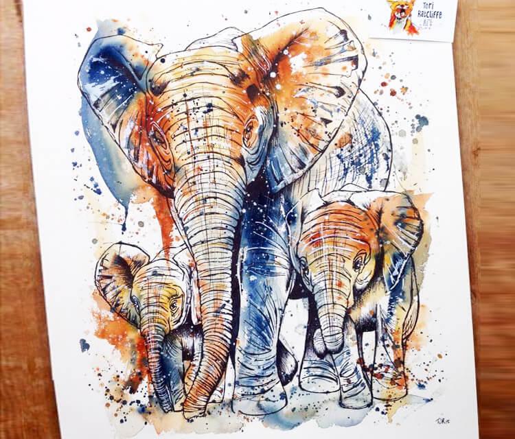 Three elephants by Tori Ratcliffe Art