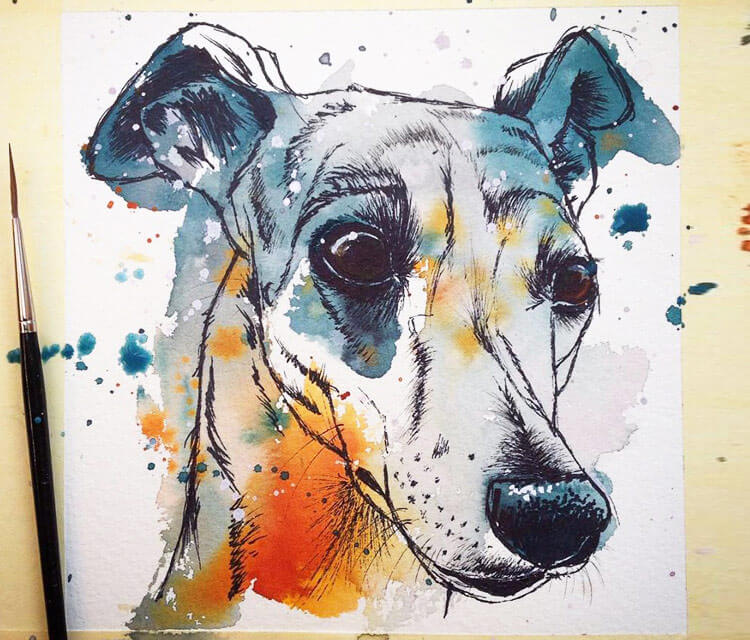 Whippet watercolor painting by Tori Ratcliffe Art