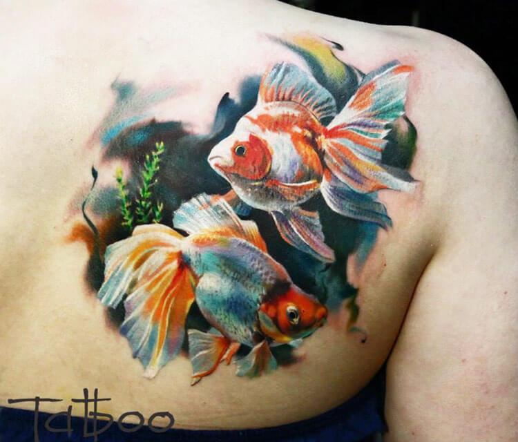 Sholder fish tattoo by Valentina Ryabova