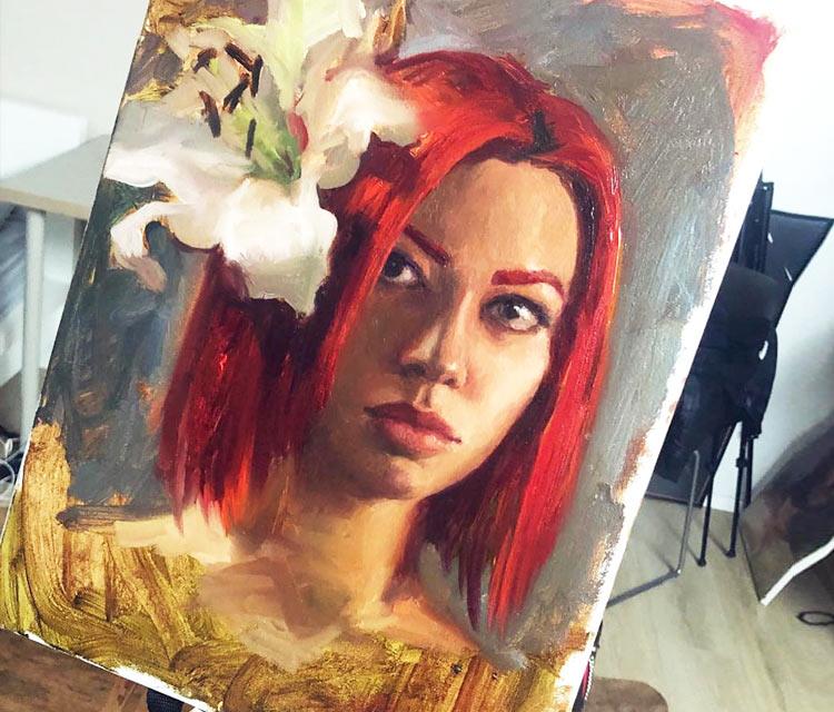 Auto portrait painting by Valentina Ryabova