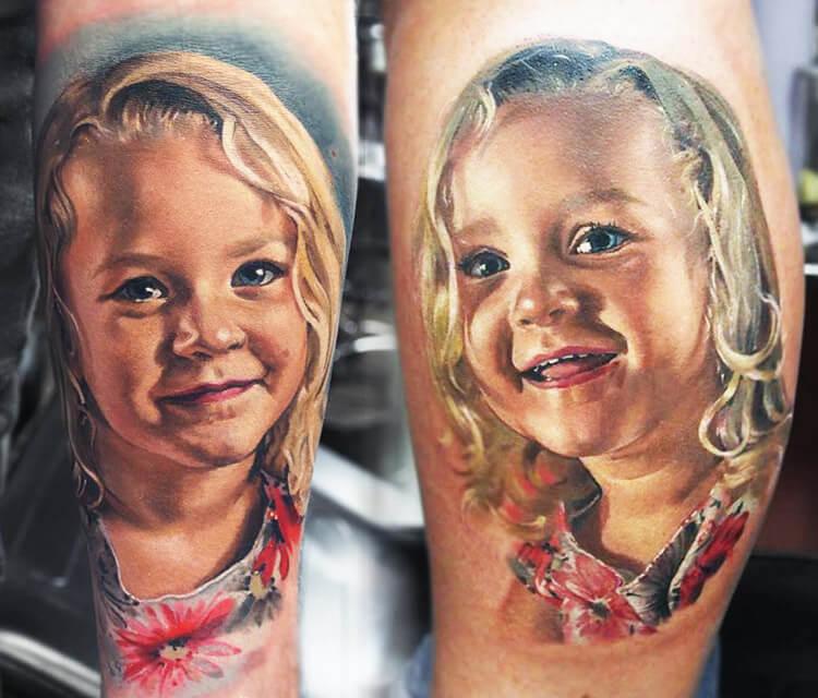 Child portrait tattoo by Valentina Ryabova