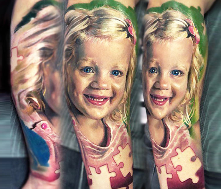 Children portrait tattoo by Valentina Ryabova