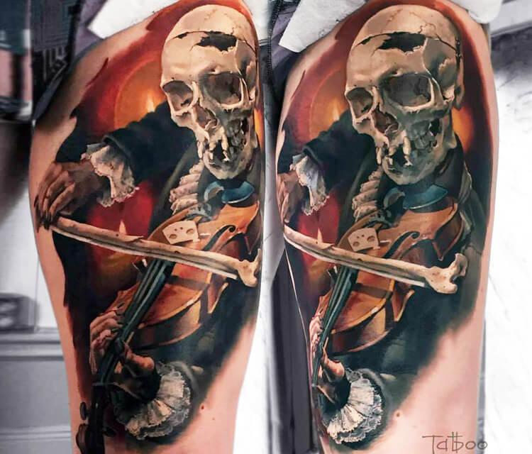 Dead Violinist tattoo by Valentina Ryabova