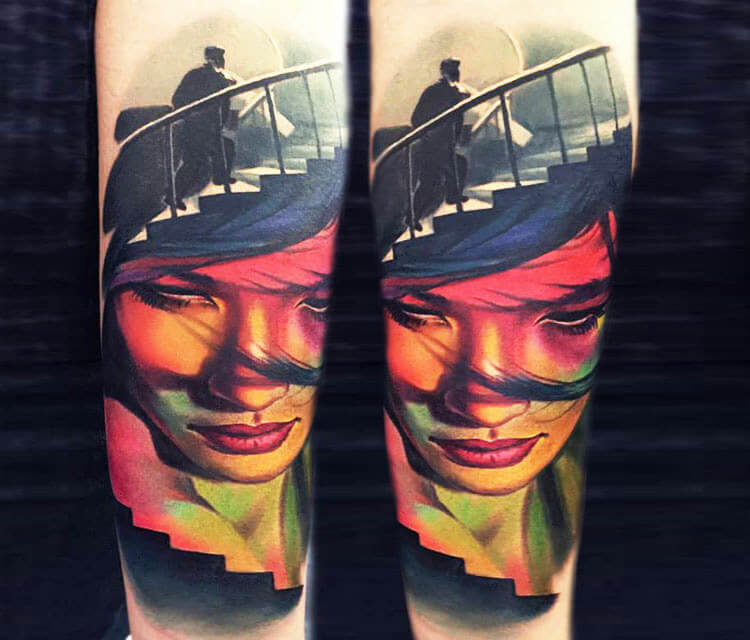 Face and stairs tattoo by Valentina Ryabova