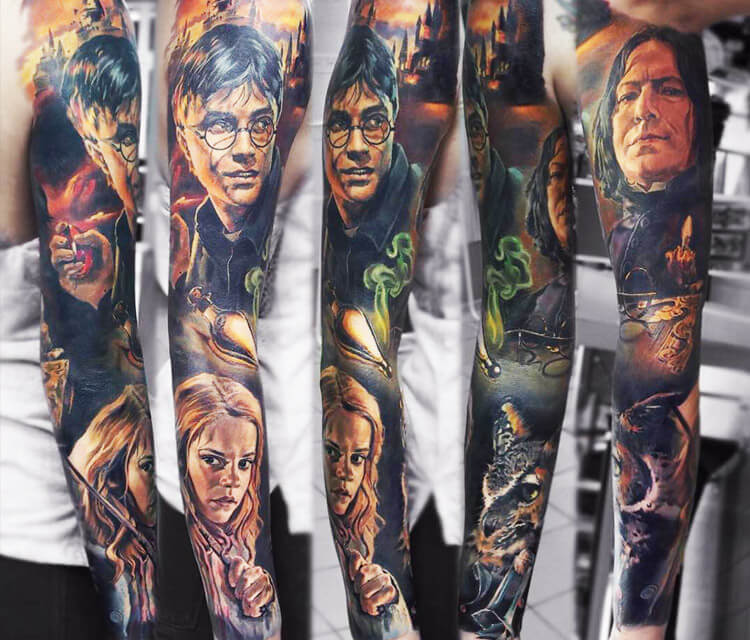 Harry Potter sleeve tattoo by Valentina Ryabova