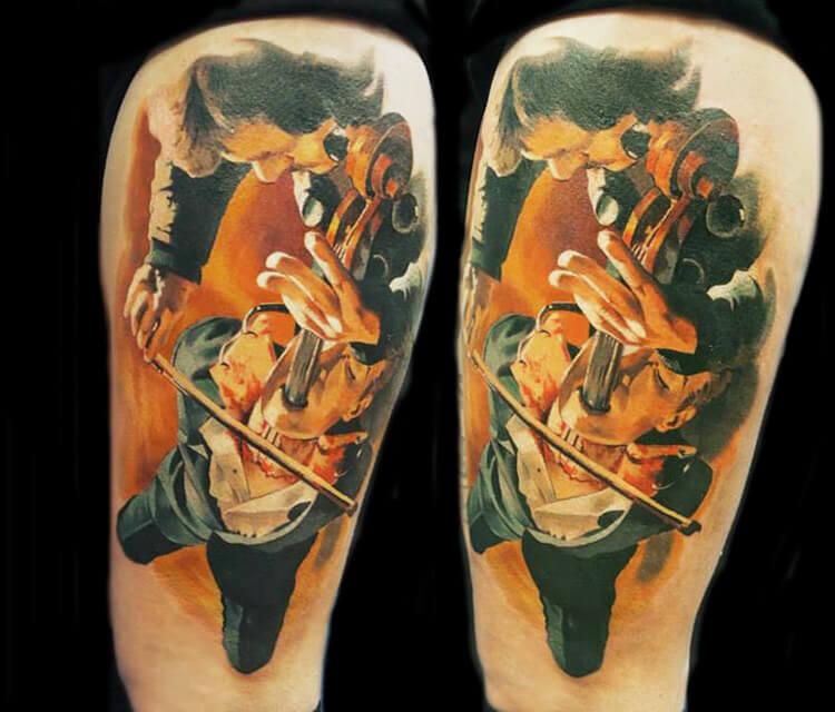 Horror musician Tattoo by Valentina Ryabova