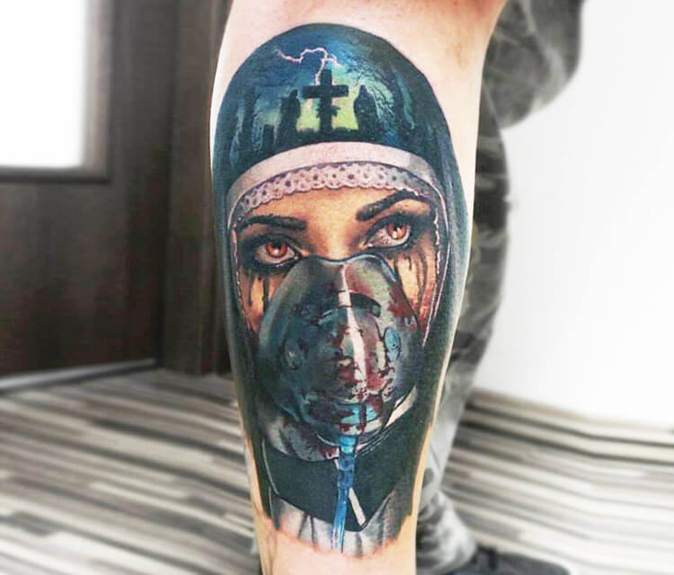 Horror Woman.mask Tattoo By Valentina Ryabova