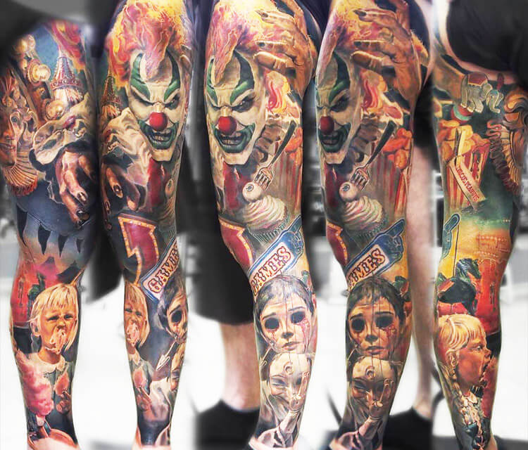 Leg sleeve tattoo by Valentina Ryabova
