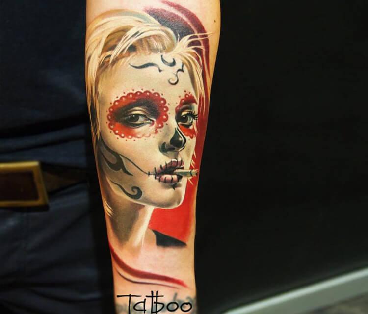Muerte tattoo by Valentina Ryabova