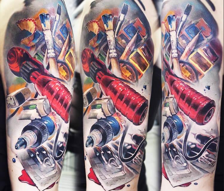 Tattoo machine tattoo by Valentina Ryabova
