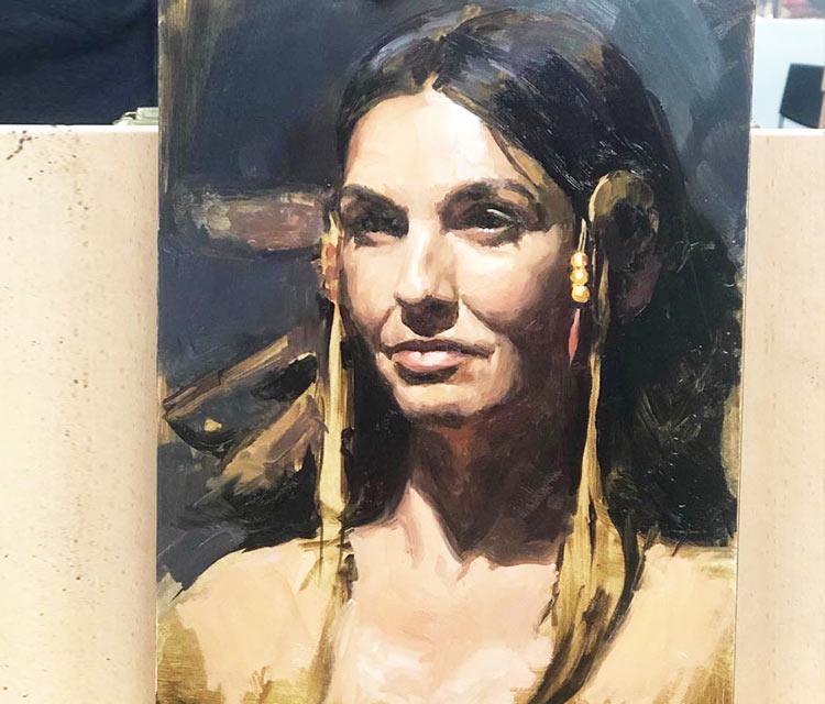 Woman portrait oil painting by Valentina Ryabova