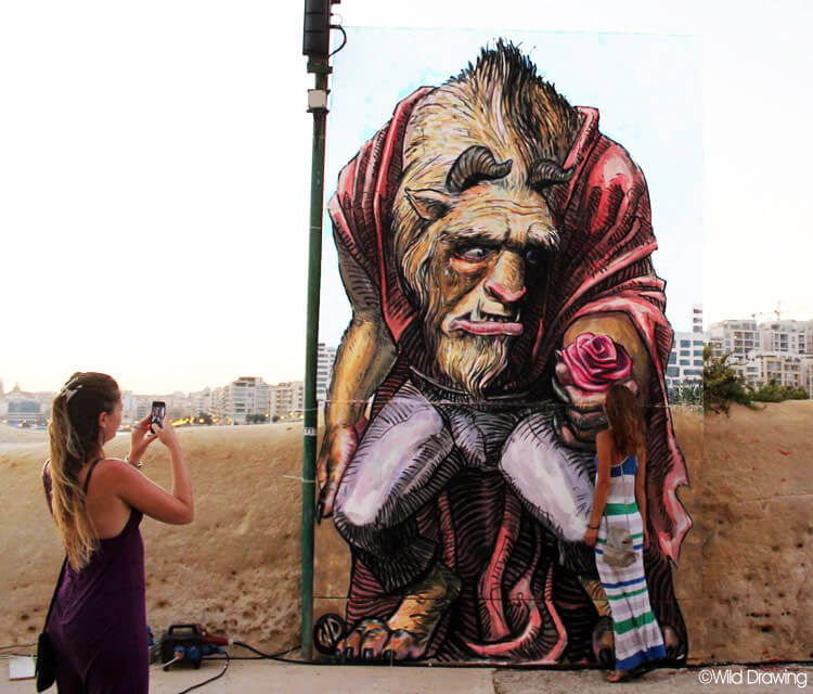 And the Beast streetart by Wild Drawing