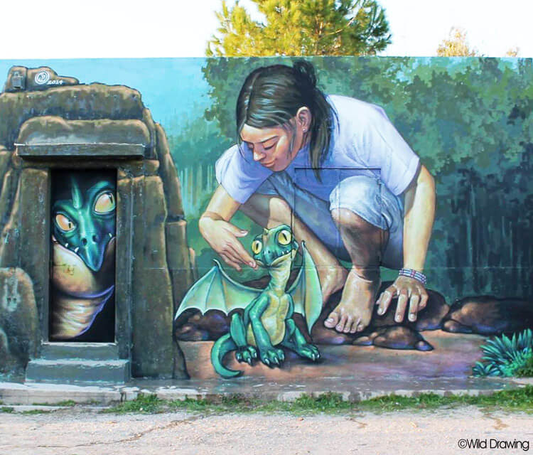 Little dragon mural streetart by Wild Drawing