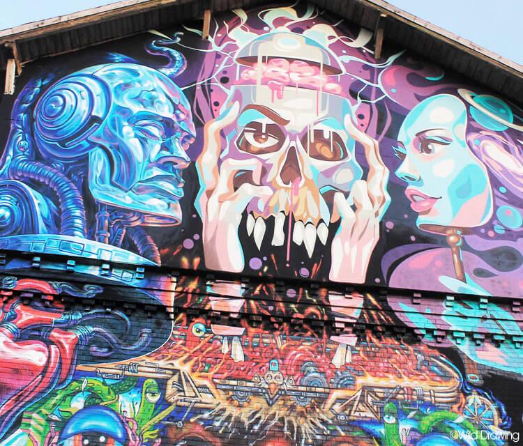 Meeting of styles detail streetart by Wild Drawing