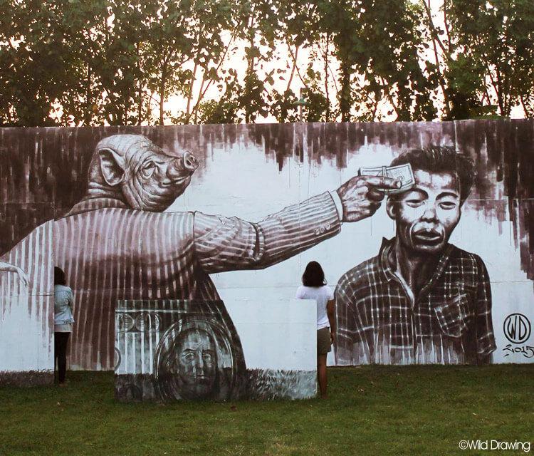 Money kills streetart by Wild Drawing | No. 651