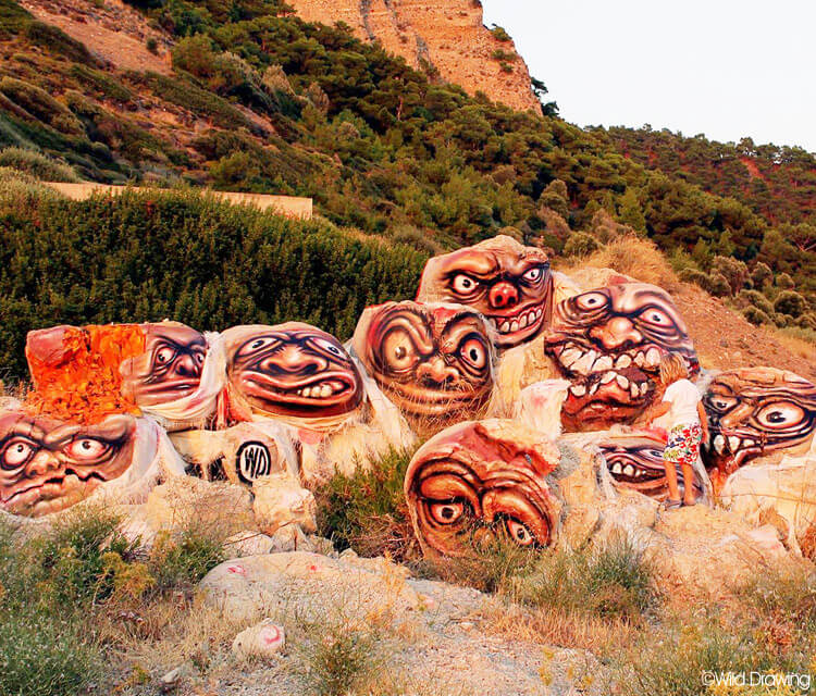 Rocks Streetart by Wild Drawing