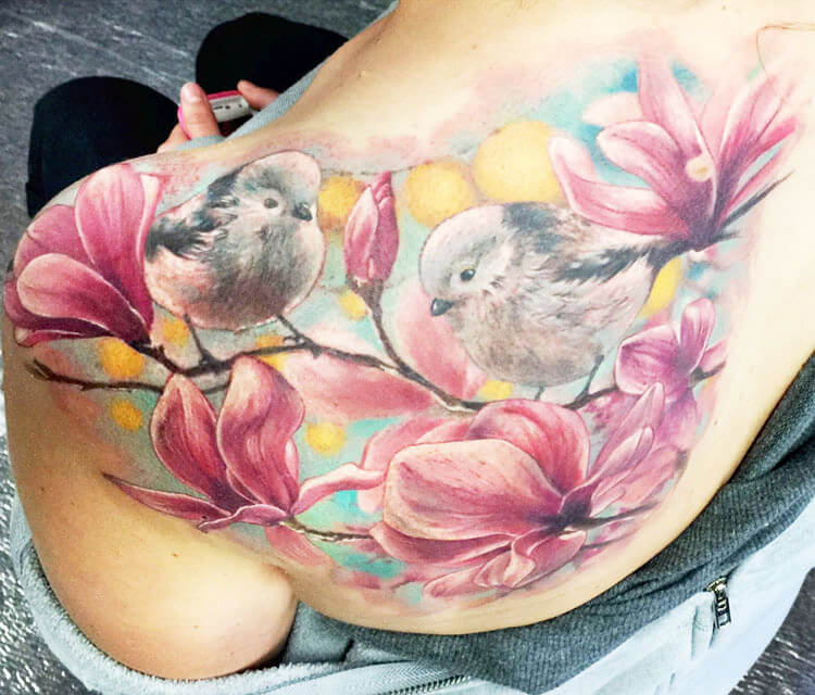 Birds on tree tattoo by Zsofia Belteczky