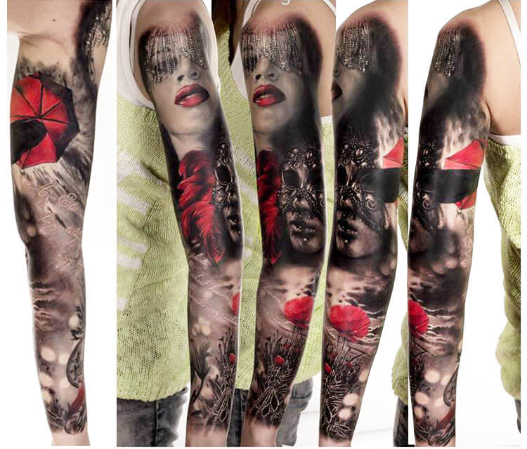 Tattoo Woman Mask: Black And Red Masks Tattoo By Zsofia Belteczky