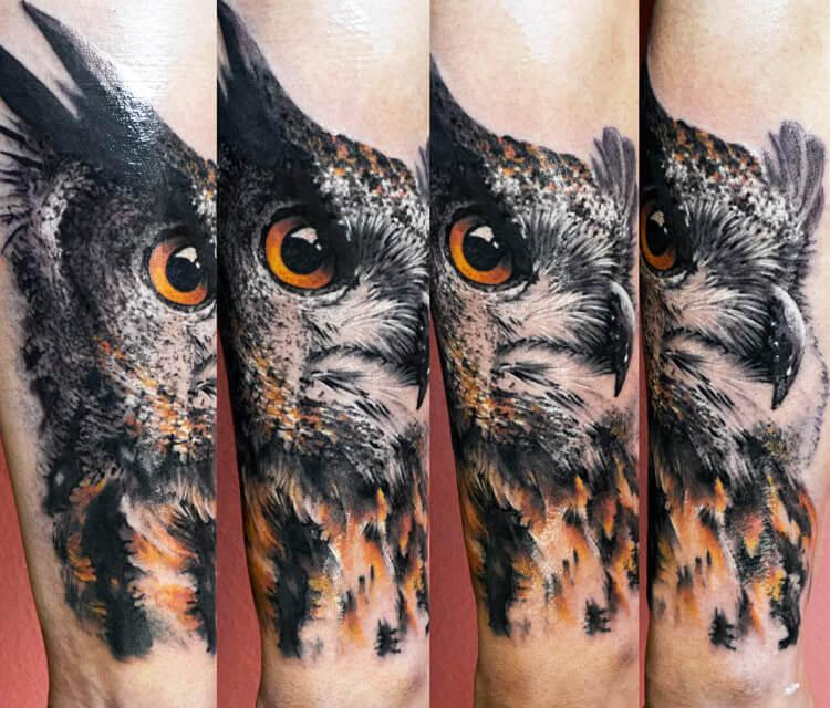 Cool owl tattoo by Zsofia Belteczky