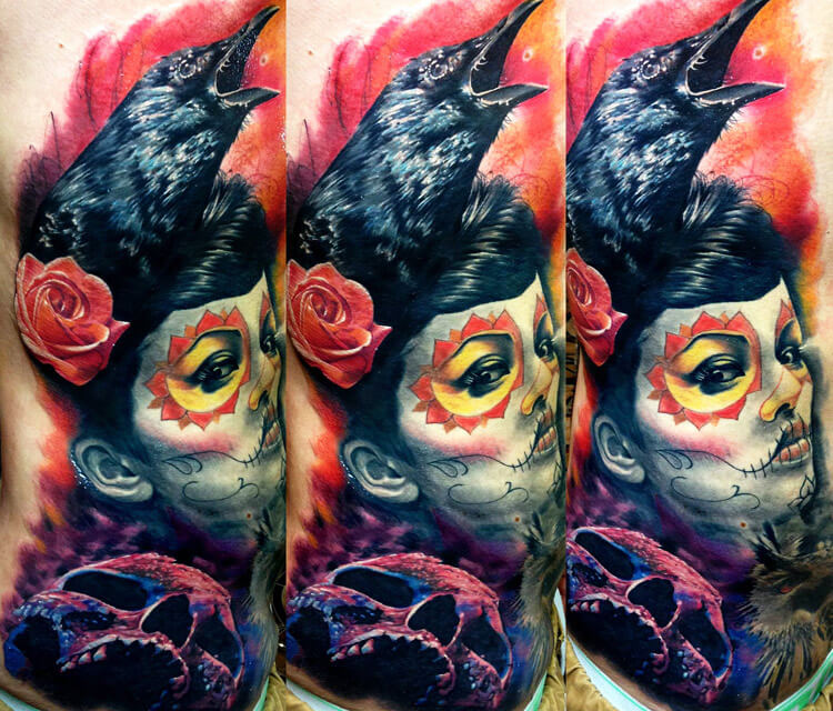 Crow woman, Skull tattoo by Zsofia Belteczky