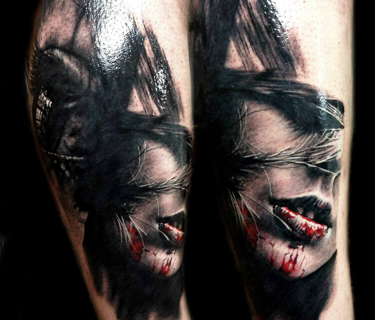Dark face tattoo by Zsofia Belteczky