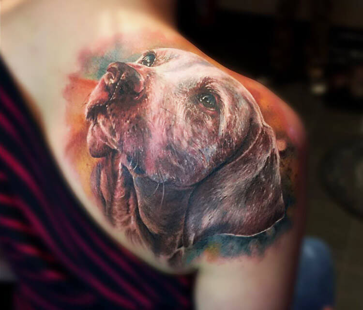 Doggy tattoo by Zsofia Belteczky