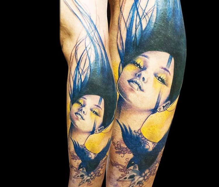 Girl with Crow tattoo by Zsofia Belteczky
