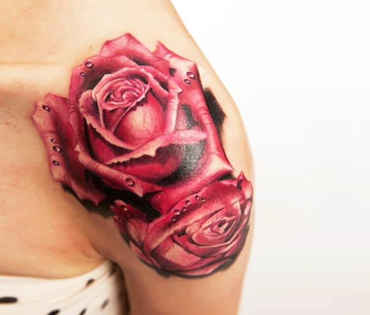 Red rose tattoo by Zsofia Belteczky