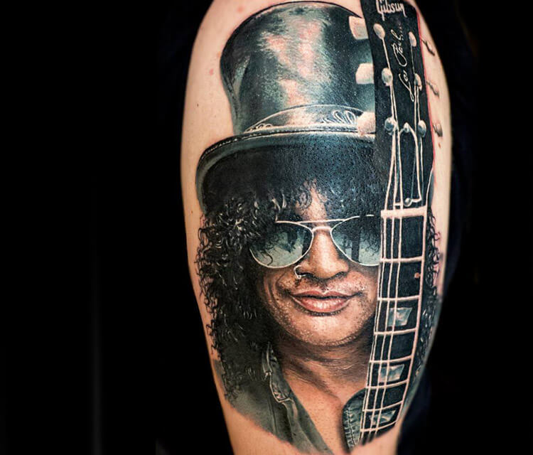 Slash potrait tattoo by Zsofia Belteczky