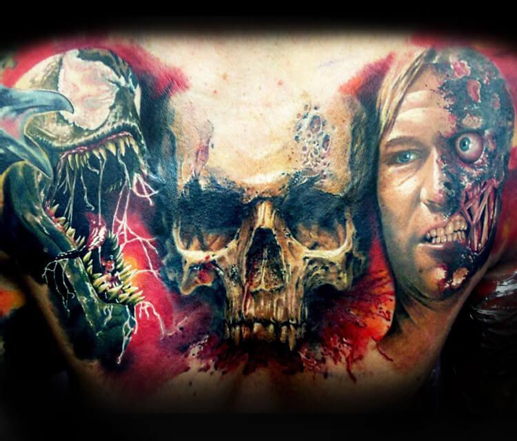 Batman, Spiderman, Skull tattoo by Zsofia Belteczky