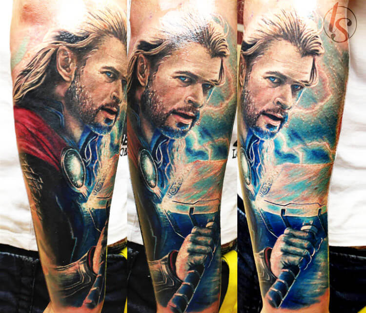 Thor, Chris Hemsworth tattoo by Zsofia Belteczky