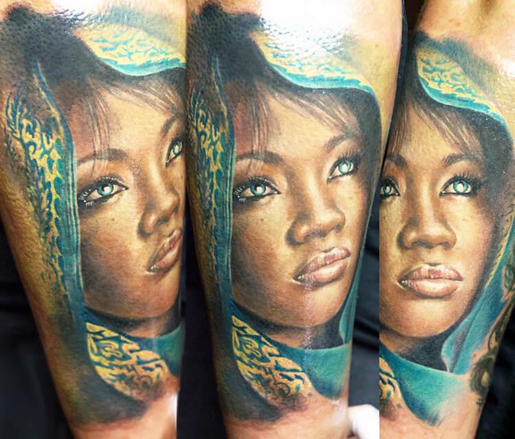 Woman portrait tattoo by Zsofia Belteczky